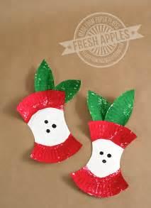 Mini paper plate apples preschool applecraft backtoschool fall paper