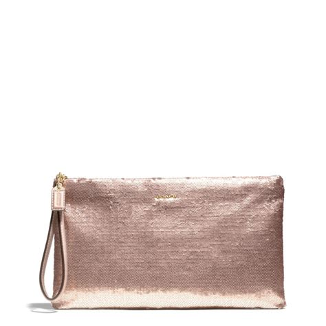 Clucth Coach coach zip clutch in sequins in metallic lyst