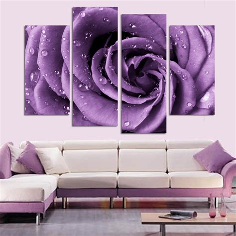 purple home decor 4 panel set modern abstract beautiful wall art purple rose