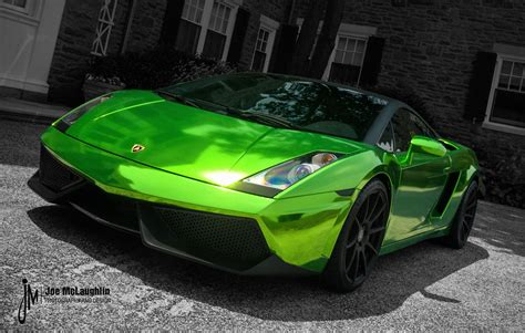 chrome lamborghini green chrome lamborghini gallardo with 19 inch forgestar