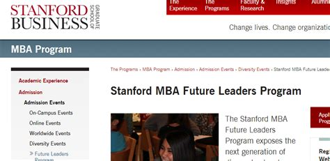 Stanford Mba Deadlines 2017 by Stanford Graduate School Of Business Mba Future Leaders