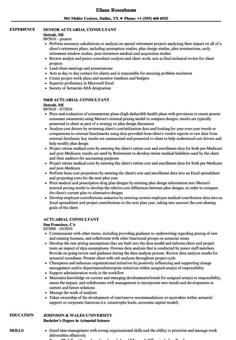 Actuary Resume by Actuarial Resume Sle Actuary Resume