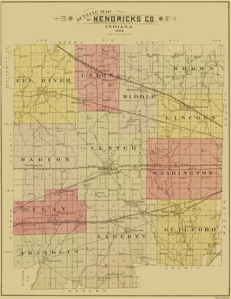 Hendricks County Search County Maps Hendricks County Indiana In Map By George A Ogle Co 1904