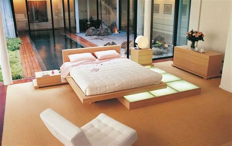 asian style platform bed zen inspired interior design