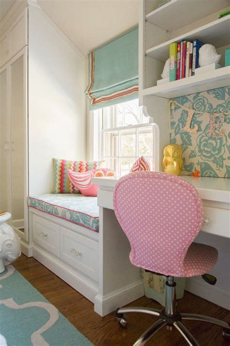 girls bedroom desk window seat and cute desk area for a tween bedroom home