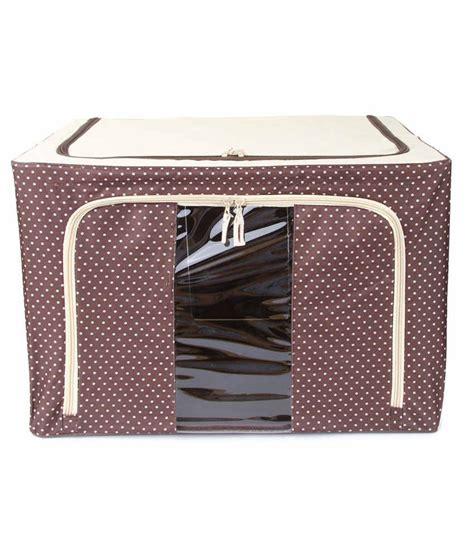 Promo Zipper Large Box 66l Coklat Polka uberlyfe foldable cloth storage box with steel frames large brown polka dot 66l buy