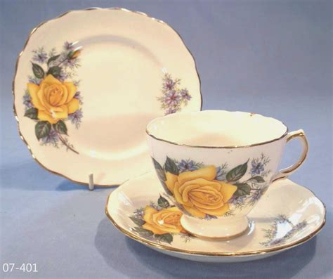 Antique Victorian Vases Crown Royal Yellow Roses Bone China Trio Sold