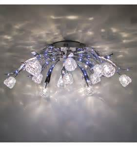 crystal ceiling light blue led tulips kosilight