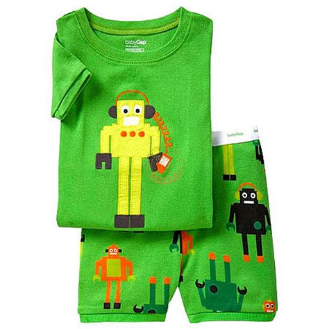 Baby Gap Sleepers by New Nwt Baby Gap Toddler Boys Summer Pajamas Green Robot 12 18 Months Ebay