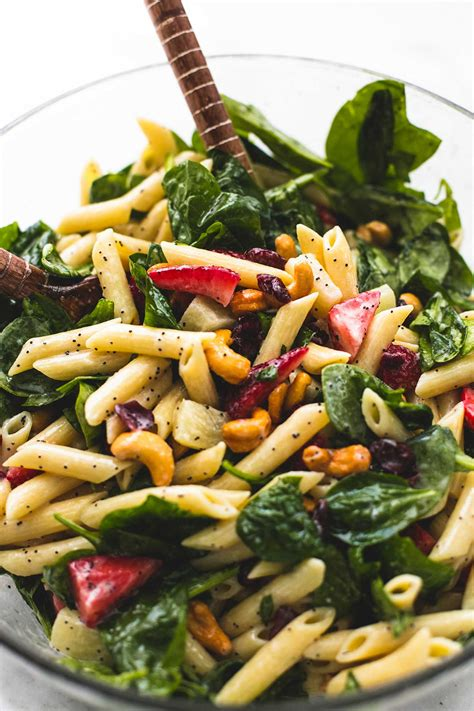 pasta salad with spaghetti noodles strawberry spinach pasta salad with orange poppy seed