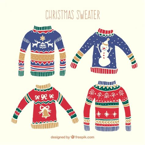 christmas jumper pattern vector hand drawn christmas sweaters pack vector free download