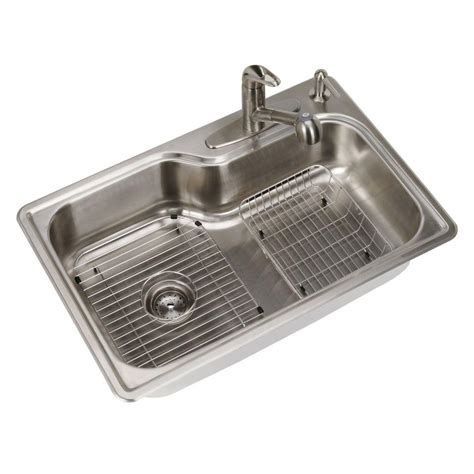 Stainless Steel Sink For Kitchen Glacier Bay All In One Top Mount Stainless Steel 33 In 4 Single Bowl Kitchen Sink Sm1071