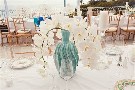 white orchid centerpieces white orchid wedding centerpiece with turquoise vase