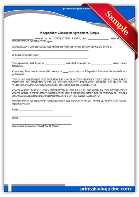 simple independent contractor agreement template free printable independent contractor agreement simple
