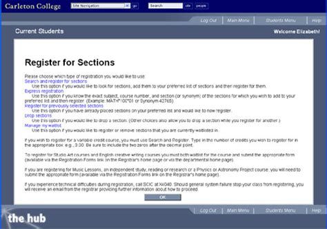 Carleton College Academic Calendar Creating Your Preferred Sections Registrar S Office
