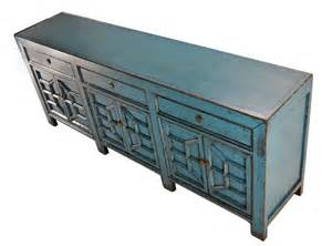 blue sideboard media console cabinet with drawers