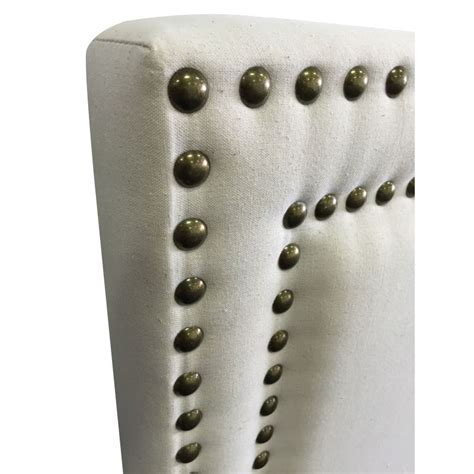 White Bedhead Size Fabric Studded Bed Headboard White Buy