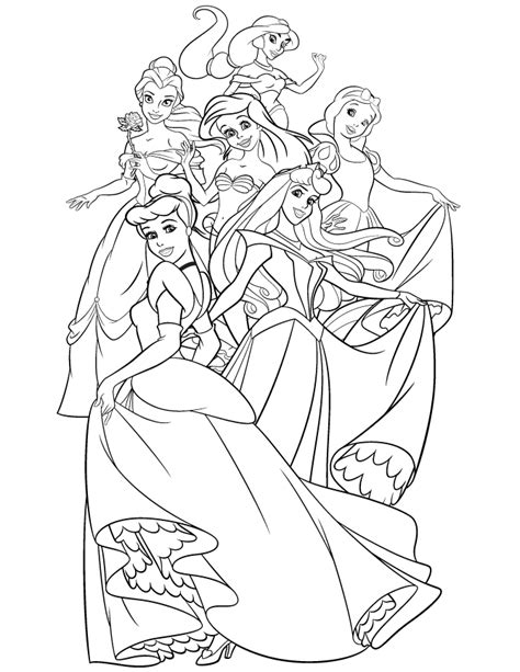 coloring pages of disney princesses disney princesses coloring page coloring home