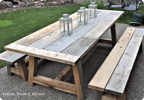 reclaimed wood outdoor dining table  benches diy