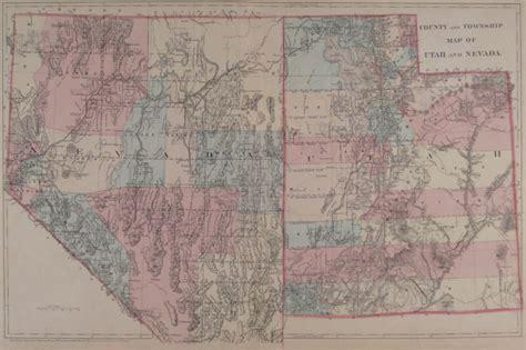 road map of utah and nevada antique maps of utah