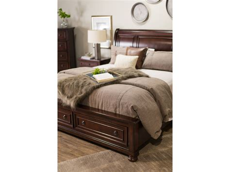 ashley furniture porter bed 57 quot traditional beveled sleigh bed in dark brown mathis