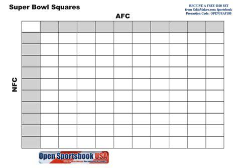 Superbowl squares football squares pool box grid short news poster