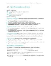 5 1 How Populations Grow Worksheet Answer Key 5 1 how populations grow name class date 5 1 how
