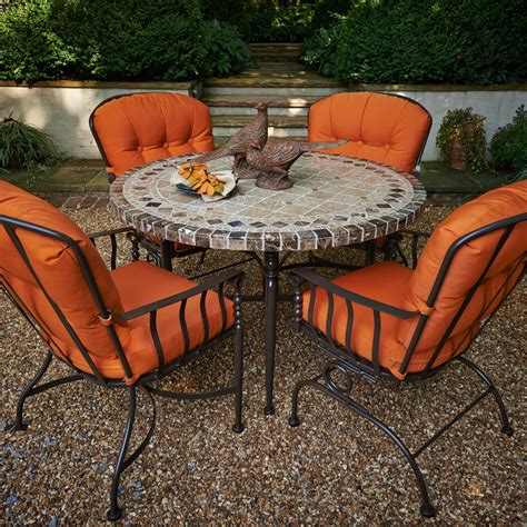 meadowcraft patio furniture meadowcraft athens wrought iron 5 patio dining set with travertine table top flagship