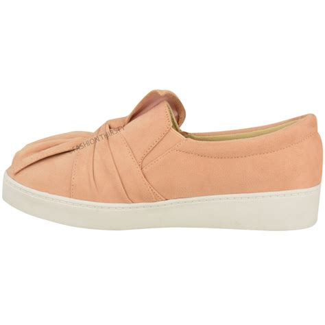 flat bow shoes new womens trainers faux suede slip on flat bow
