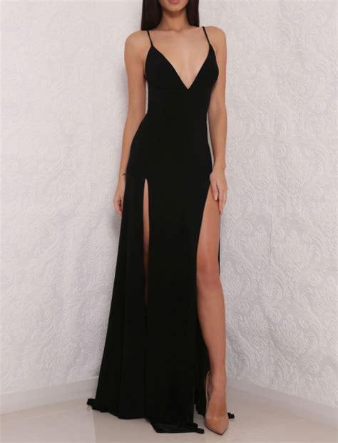 Open Slit Dress high slit prom dress black prom dress open back