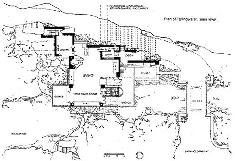 fallingwater floor plan falling water house plan frank lloyd wright pinterest