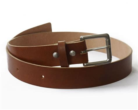 mens handmade medium brown veg leather belt basader