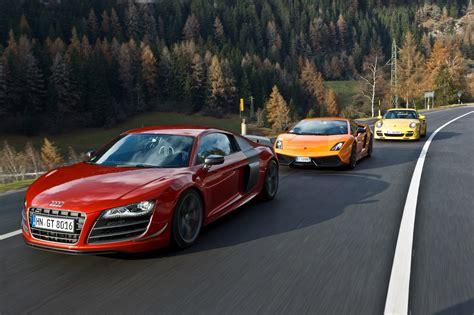 Audi R8 Lamborghini Lamborghini Gallardo Vs Audi R8 Gt Vs Porsche 911 Turbo