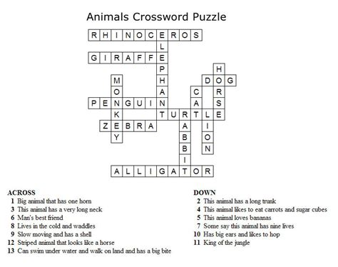 printable crossword puzzle animals kids crossword puzzles print your animals crossword