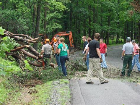 Morrow Mountain Cabins by Volunteers Work To Clean Up Damage At Morrow