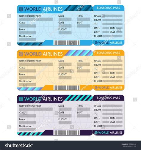 airline plane ticket set boarding pass stock vector