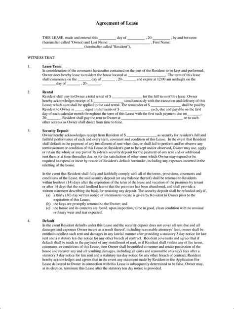 lease agreements agreement of lease for free tidyform