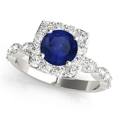 Blue Sapphire 7 72ct blue sapphire square halo engagement ring 14k