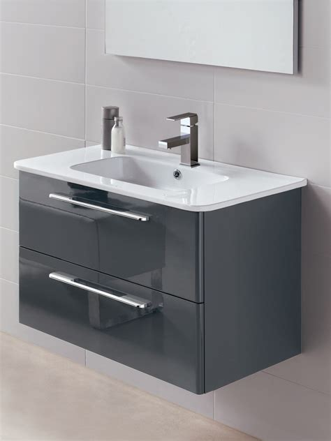 Grey Vanity Unit by Ramia Gloss Grey 80cm Wall Hung Vanity Unit 2 Drawer