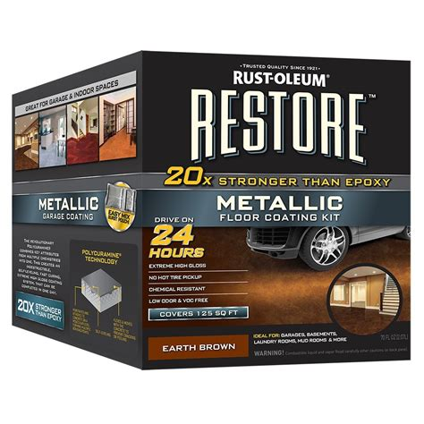 shop rust oleum restore 2 part brown metallic gloss garage floor epoxy kit actual net contents