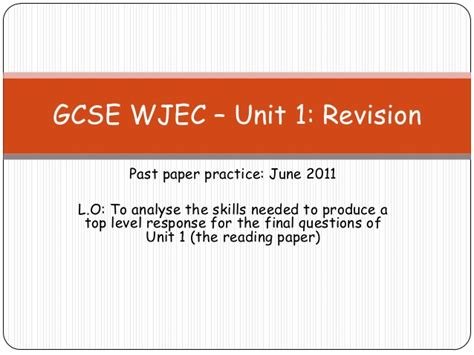 gcse reading and writing past papers gcse wjec unit 1 june2011