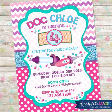 doc mcstuffins party invites for madison cuz we like to