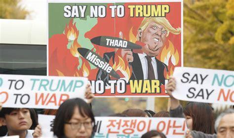 donald trump asia tour donald trump asia tour south korea protests against ww3