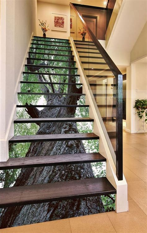 details   green trees stair risers decoration photo
