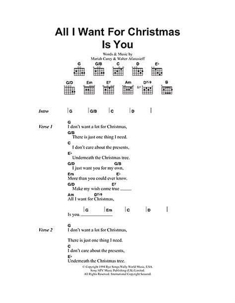 printable lyrics all i want for christmas is you all i want for christmas is you sheet music by mariah