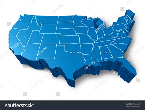 us map blue usa 3d map symbol represented by stock illustration