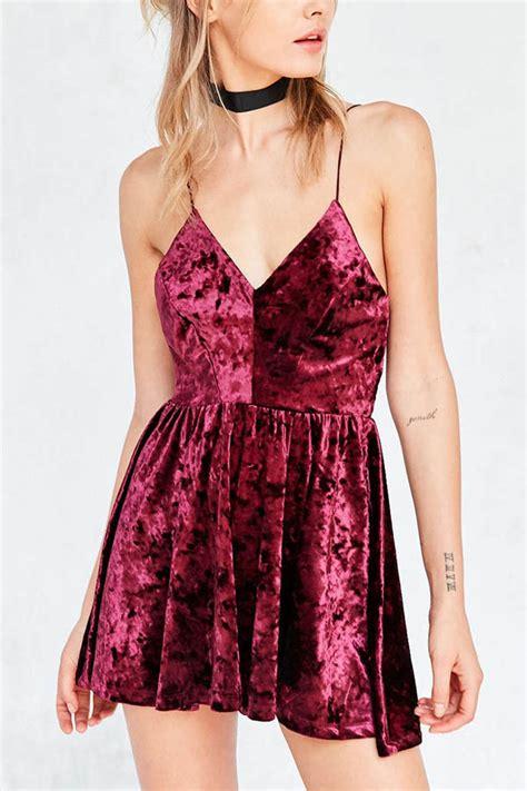 dark red spaghetti straps velvet skater dress