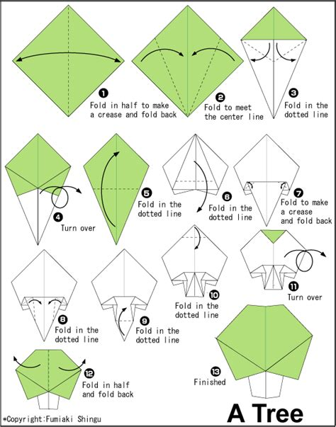 Origami Tree Step By Step - origami by morikami