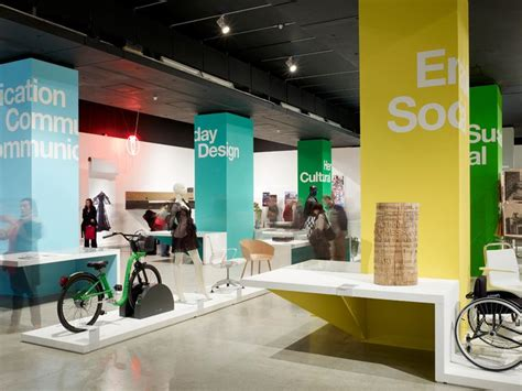 museum exhibition layout colored columns signage wayfinding pinterest texts