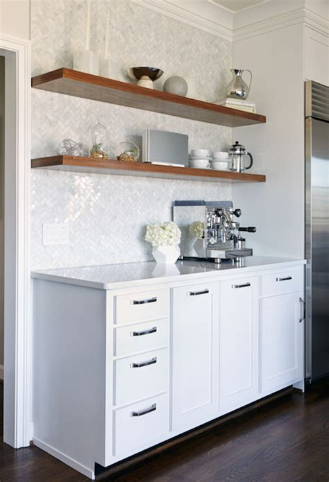 Kitchen Floating Shelves Height Kitchen With Herringbone Pattern Tiles Contemporary